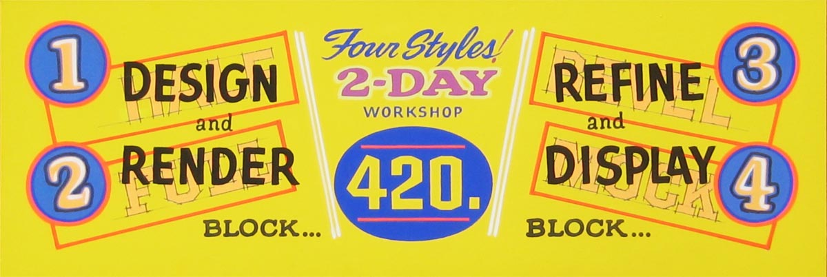 "Hand-painted ad for John Downer's ""Half-Full-Bevel-Mock"" workshop"
