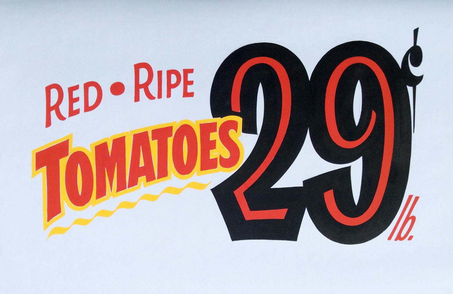 Hand-painted ad for tomatoes