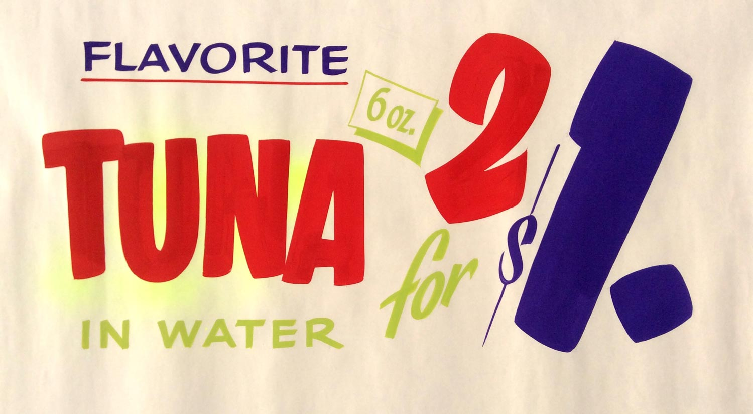 Hand-painted ad for tuna